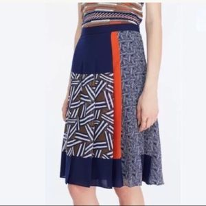 DVF Cici Mix Print Pleated Skirt Orange Blue NWT